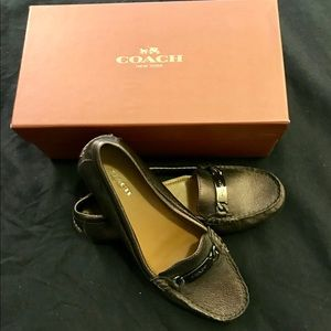 Coach Odette Metallic Brown Loafer NEW